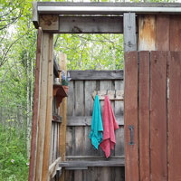The enterance of our off-grid shower in the Middle of Know-Where